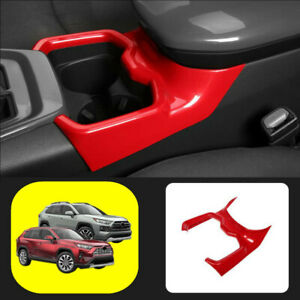 Fit For 2019 2020 2021 Toyota Rav4 Abs Red Car Water Cup Holder Frame Trim Cover