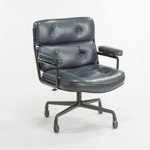 1984 Herman Miller Eames Dark Blue Leather Time Life Executive Office Desk Chair