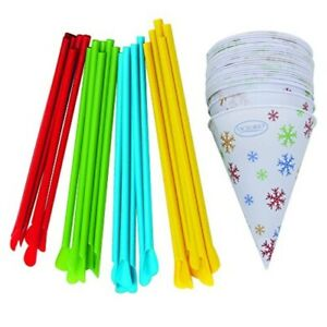 Snow Cones Cups With Spoon Straws assorted Colors 100ct Each