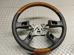 03 07 Gm Truck Steering Wheel Black And Woodgrain Wood Custom Gorgeous