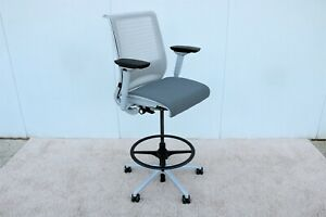 Steelcase Ergonomic Think Drafting Stool Chair In 3d Knit Back Fully Adjustable