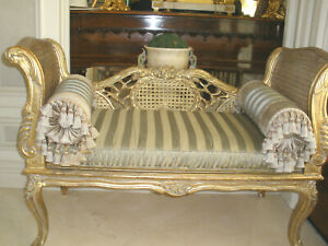 Unique Carved Cane Vintage Antique Upholstered Recamier Chaise Settee Sofa
