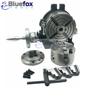 6 Horizontal Vertical Rotary Table W Adapter 3 jaw Chuck