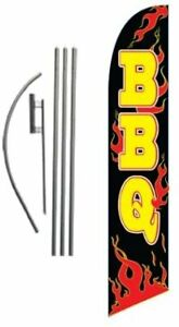 Barbeque Bbq Advertising Feather Banner Swooper Flag Sign With Flag Pole Kit