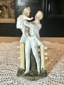 Antique German Porcelain Figurine Father And Daughter