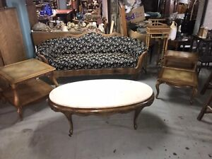 Weiman Heirloom 3 Piece Set Marble Top Coffee Table W 2 Leather Top Side Tables