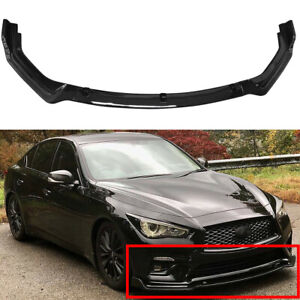 For 2018 2020 Infiniti Q50 Base Premium Glossy Black Front Bumper Lip Splitter