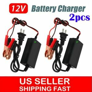 2pcs Car Battery Maintainer Charger Tender 12v Auto Trickle Boat Motorcycle Us
