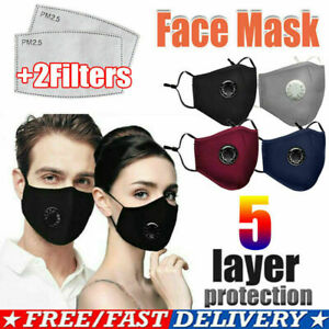 Reusable Cloth Cotton Face Mask Guard With Air Breathing Valve 2 Pm2 5 Filters