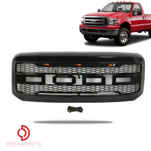 Fit 2005 2007 Ford F250 F350 Raptor Style Front Grille W Led Letters Gloss Black