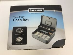 Mmf Industries Steelmaster Cash Box 9 Compartments Charcoal Gray 2216194g2