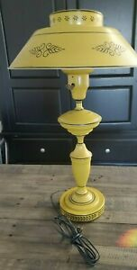 Vintage 22 Yellow Gold Metal Tole Ware Table Lamp Torchiere Milk Glass Diffuser