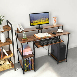Wooden Computer Desk With Monitor Stand And Keyboard Drawer Home Workstation