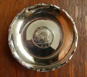 Vintage Sammy Hong Kong Kennedy 900 Coin Sterling Silver Change Dish Small Bowl
