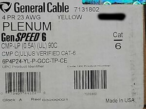 General Cable Genspeed 6 23 4p Cat6 Network Cable Cmp Plenum Yellow 100ft