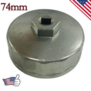 74mm Oil Filter Cap Wrench Socket Remover Tool Fit Fr Benz Audi Toyota Vw Silver