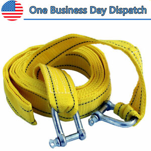 4m Heavy Duty 5 Tons Car Tow Cable Emergency Trailer Pull Rope Strap Recovery Us