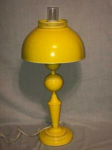 Vintage Tole Canary Yellow Metal Lamp Desk Toleware Glass Table Works