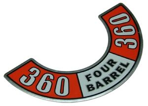 360 Four Barrel Air Cleaner Decal Fits Chrysler Valiant