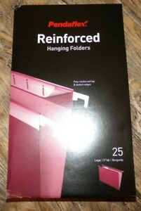 25 Pendaflex Reinforced Hanging File Folders Burgundy 5 Tab Legal Size New 4153