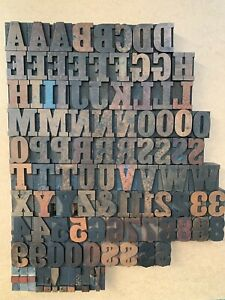 Antique Vtg Wood Letterpress Print Type Block A z Letters Numbers Comp Set 101pc