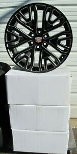 22 New Cadillac Escalade Factory Style Black Milled Set Of 4 Wheels 5906