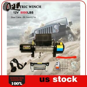 1x Electric Winch Steel Cable 12v Truck Trailer Tow 4wd Off Road 1pcs 8000lb
