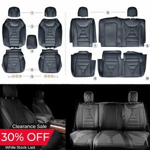 For 2015 2020 Ford F150 Super Crew Seat Front Rear F150 Seat Covers Black