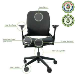 Steelcase Leap V2 Chair Remanufactured 12 Yr Warranty Black Fabric