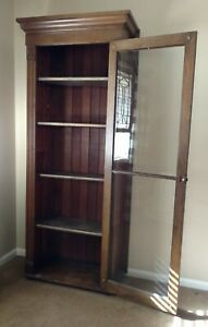 Antique Book Case Wardrobe Union Pacific 1800 S Solid Oak Spoon Carved Mission S
