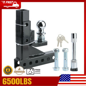 Adjustable 2in Towbar Ball Mount Hitch Trailer Tongue Tow Bar Set 6500lbs Towing