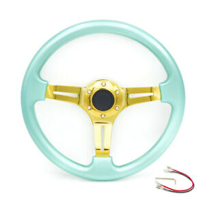 350mm 14 Universal Racing Abs Steering Wheel For 6 hole Adapters Tiffany Blue