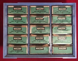 Vintage Mallory Resistor Storage Cabinet Empty 12 Compartments