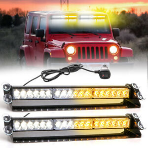 2xled Emergency Strobe Visor Light Warning Light Bar Traffic Advisor Amber white