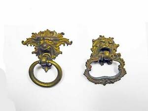 Two Old Cast Brass Victorian Ring Pulls Figural Mythical Lion Old Patina