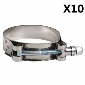 10pcs For 1 3 4 Id Silicone Hose Stainless Steel T Bolt Clamps 51mm 59mm