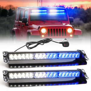 2x Led Emergency Strobe Visor Light Warning Light Bar Traffic Advisor Blue white