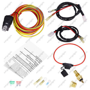 165 To 185 Dual Electric Fan Relay Wiring Harness 40 Amp Thermostat Sensor Set