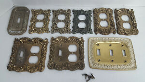 9 Vintage Brass Metal Switch Plate Electric Socket Cover Lot