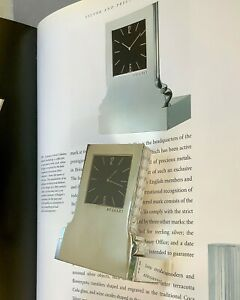 Bvlgari Sterling Silver Modernist Sculptural Corinthian Column Design Desk Clock