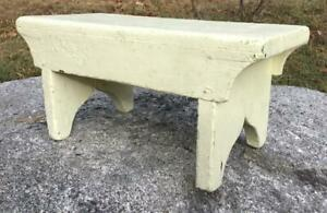 Vintage Wooden Painted Pale Yellow Foot Stool Bench Foot Rest Boot Jack Ends 16