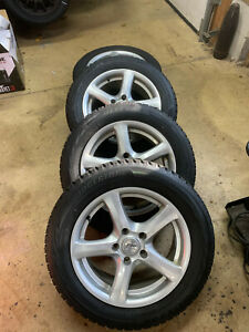 205 60 16 Bridgestone Blizzak Ws80 Snow Tires On 16x7 Sport F7 Silver Wheels