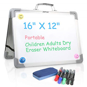 Dry Erase White Board 16 x12 magnetic Double Sided Foldable White Board erase 5