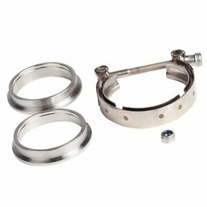 Universal 3 5v Band Flange Clamp Kit For Turbo Exhaust Downpipes Stainless Steel