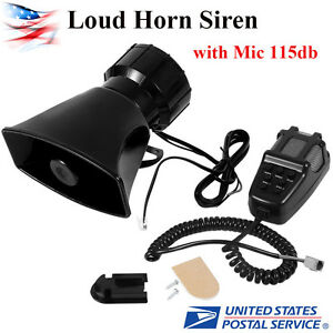 7 Sound Car Warning Alarm Police Fire Siren Horn Pa Speaker Mic System