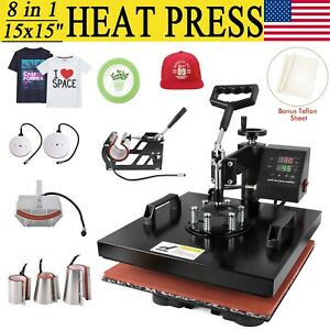 8 In 1 Heat Press Machine Digital Transfer Sublimation T shirt Mug Hat 15 x15