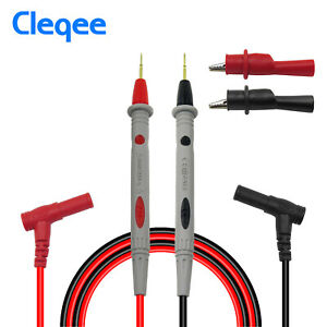 Cleqee Multimeter Test Leads Kit With Alligator Clips Sharp Probe 1000v 20a