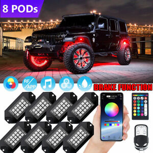 Mustwin 8 Pods Rgb Led Rock Lights Kit Underbody Neon Light Bluetooth App Music