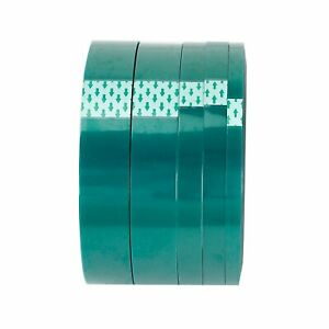 High Temp Masking Tape Kit 5 Roll Silicone Powder Coating Paint Green Polyester