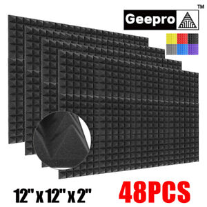 48pc 12 x12 x2 Acoustic Foam Black Panel Tiles Wall Record Studio Sound Proof